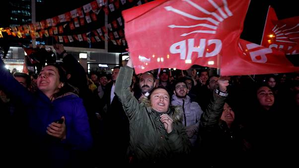 Supporters of CHP Party outside the party's headquarters in Ankara
