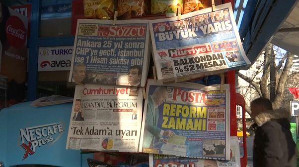 Kiosque à journaux à Ankara, le 01/04/2019