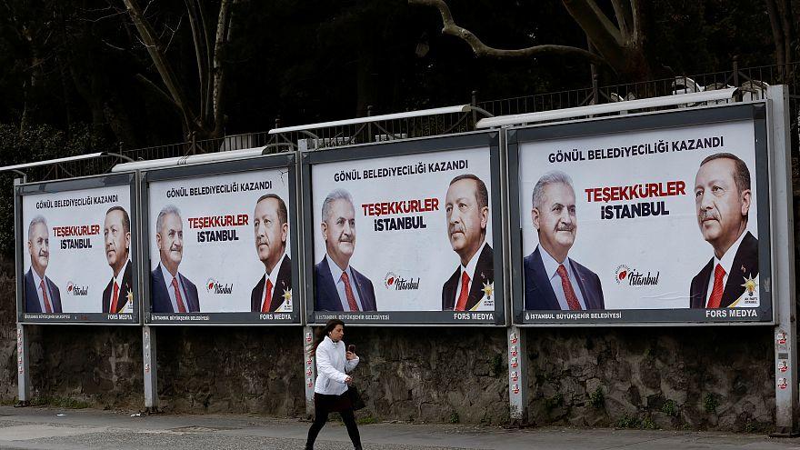 AKP billboards in Istanbul featuring Turkish President Tayyip Erdogan