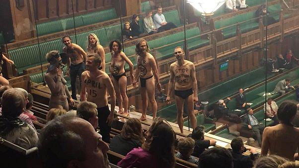 """""""Обнажённый протест"""" в британском парламенте"""