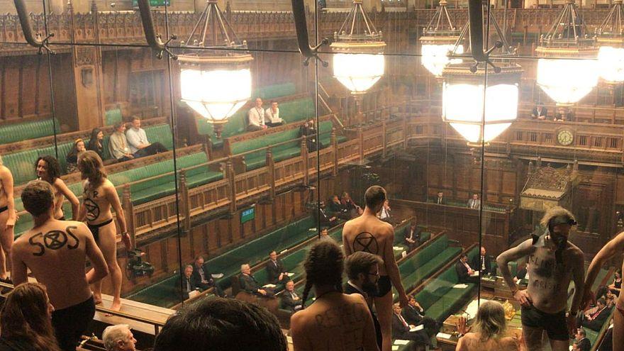 Çıplak protestocular ingiltere parlamentosunu bastı