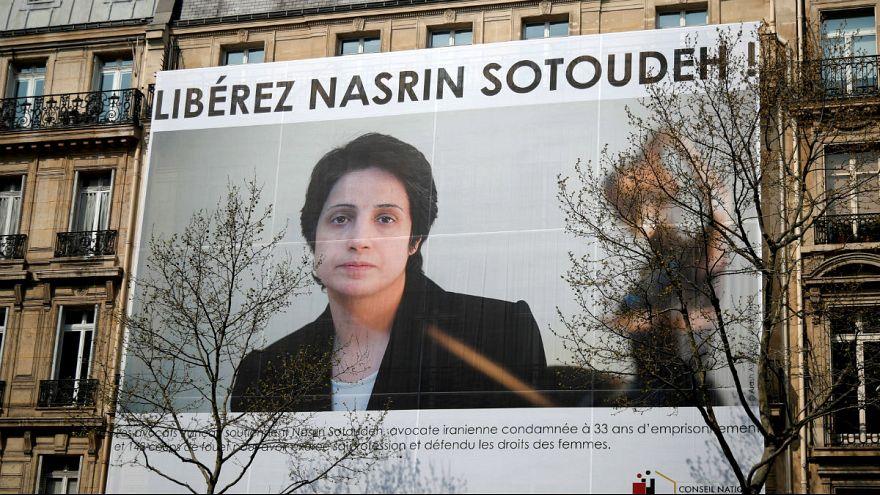 تصویر نسرین ستوده بر ساختمان کانون وکلای پاریس