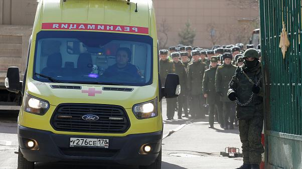 An ambulance at the  Mozhaysky Military Space Academy, April 2, 2019.