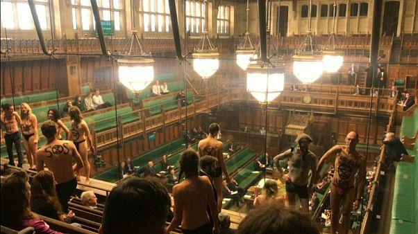 معترضان اقلیمی برهنه در مجلس عوام بریتانیا