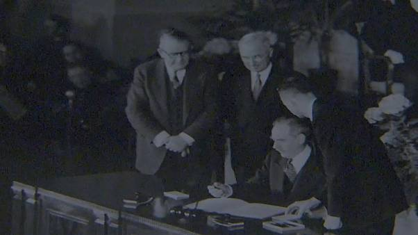 12 European and North American nations signed the North Atlantic Treaty