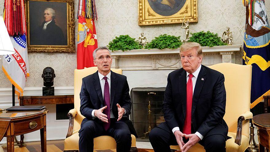 NATO chief Jens Stoltenberg (L) & US President Donald Trump. April 2, 2019