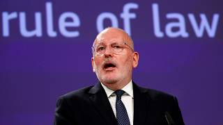 Timmermans at a news conference in Brussels