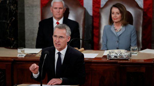 """""""Atlântico une a Europa e os EUA"""", diz líder da NATO em Washington"""