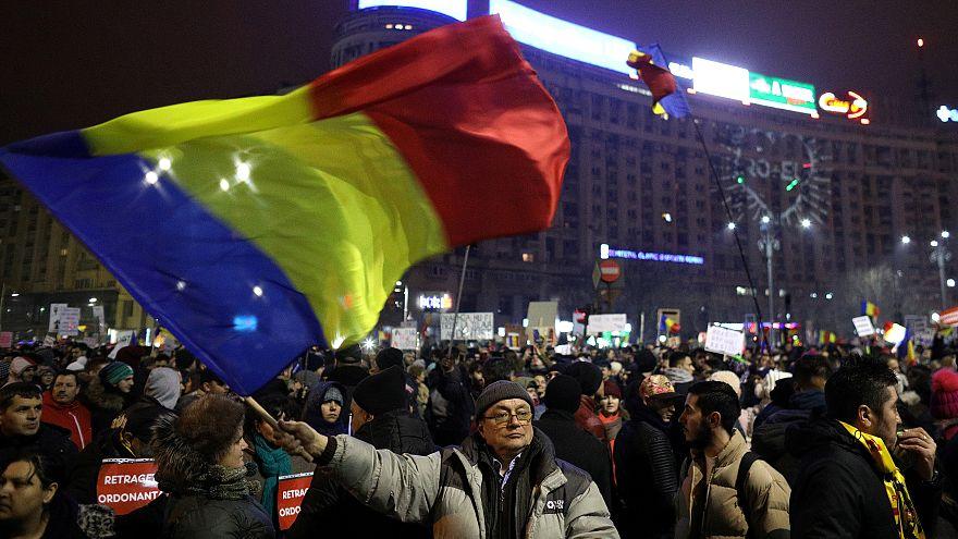 An anti-corruption demonstration in Bucharest