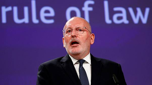 Frans Timmermans holds a news conference in Brussels, April 3, 2019