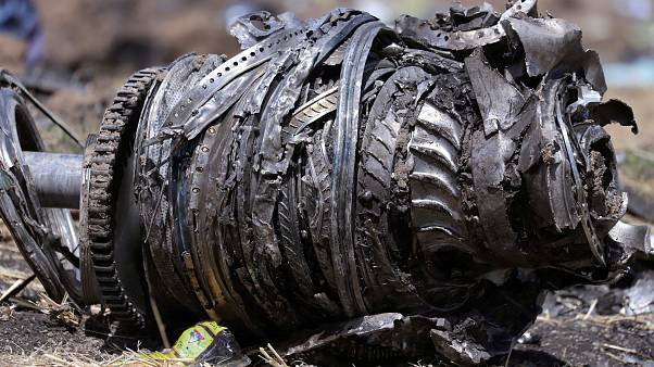 Airplane engine parts at the scene of the March 10 Ethiopian Airlines crash