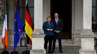 German Chancellor Angela Merkel with Irish PM Leo Varadkar
