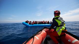 Migrants rescued off the coast of Libya by Sea-Eye on April 3, 2019.