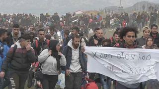 تجمع اعتراضی مهاجران غیرقانونی در یونان