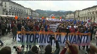 Manifestación a favor del tren de alta velocidad entre Turín y Lyon