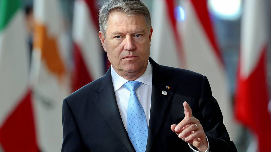 Romanian President Klaus Iohannis arrives at an EU summit, March 22, 2019