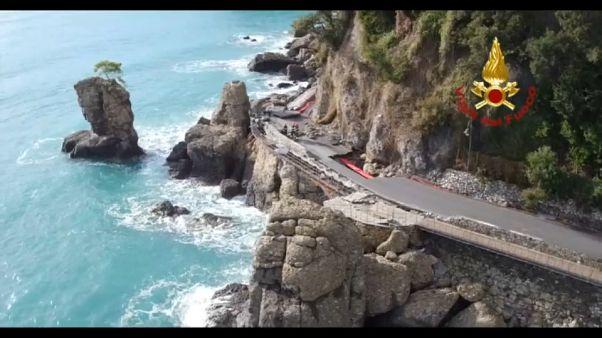 5 mesi e mezzo dopo la mareggiata, riaperta la strada per Portofino