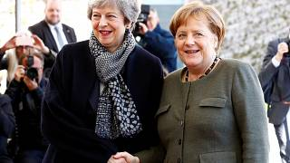 Theresa May and Angela Merkel in Berlin on April 9, 2019.