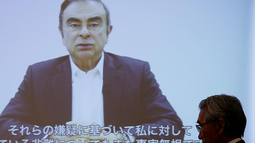 Nissan's former chair Ghosn says he was victim of 'backstabbing' in video address