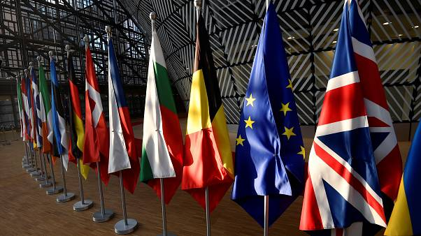 EU countries' flags in the EU Council buildings, Brussels, March 21, 2019.