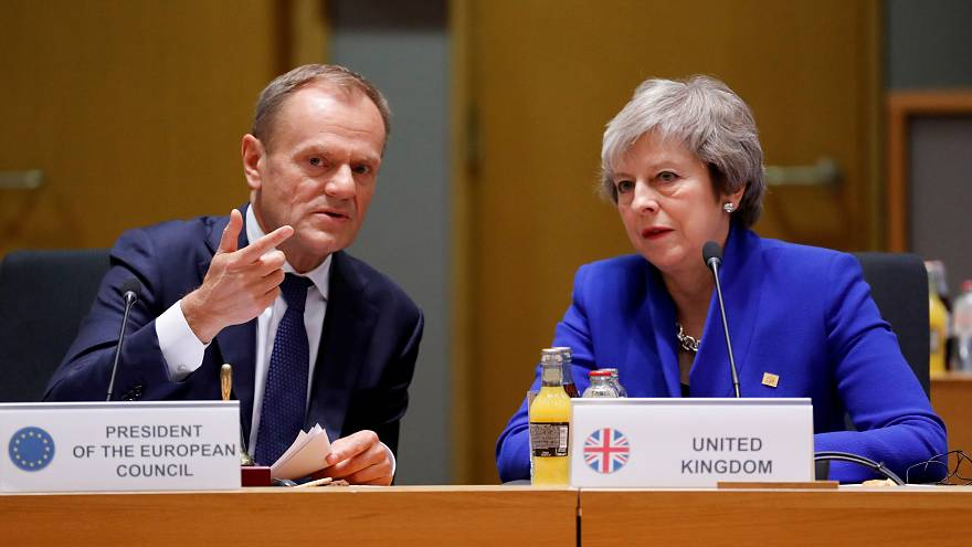 Donald Tusk and Theresa May in Brussels, November 25, 2018.
