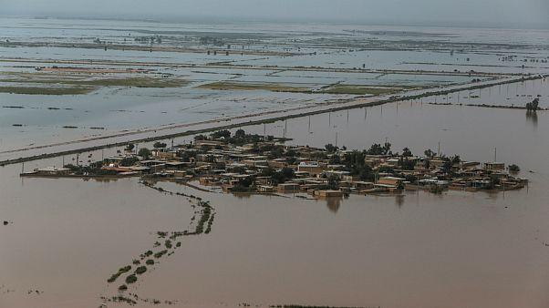 بخشی از مناطق سیل زده در استان خوزستان