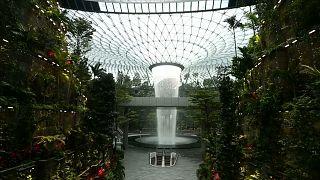Watch: Singapore Airport now boasts an internal 40-metre-high waterfall