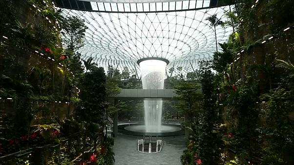 Watch: Singapore Airport now boasts an internal 40-metre-high waterfall