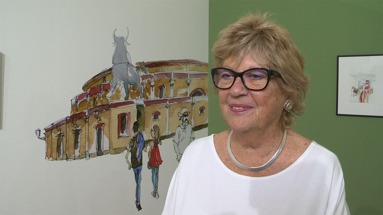 Motivos taurinos y tradición en la obra de Marlene Pohle expuesta en Cartoon Xira