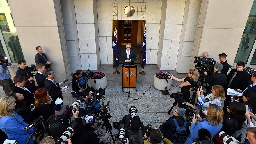 رئيس الوزراء الأسترالي موريسون خلال إلقاءه كلمة أمام البرلمان في كانبيرا