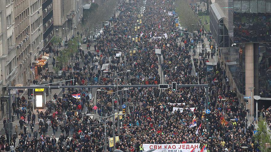 جانب من المظاهرات الصربية