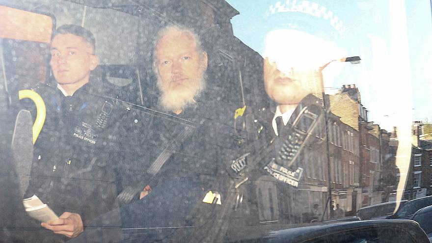 Julian Assange taken away to Belmarsh prison in London