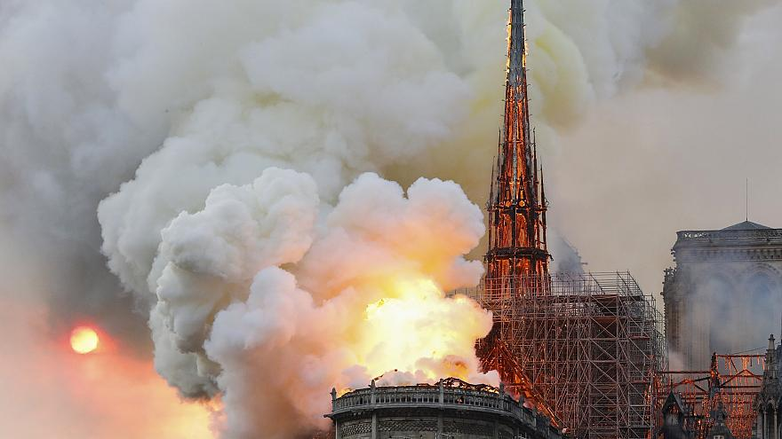 Image result for Notre Dame cathedral on fire