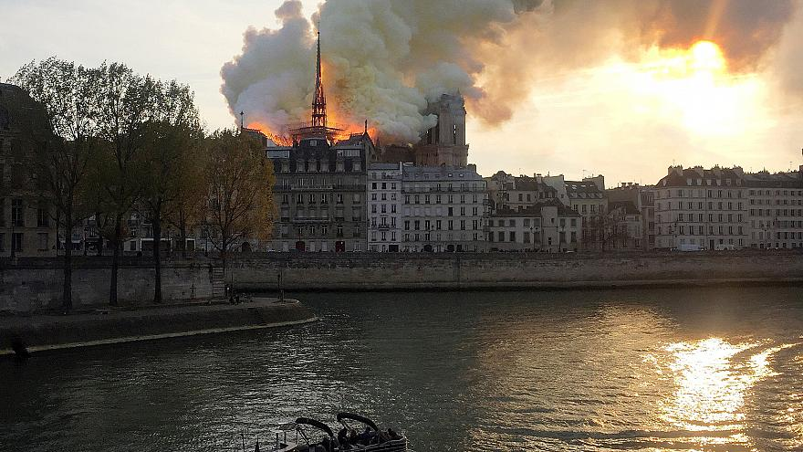 Notre-Dame Cathedral on fire in Paris
