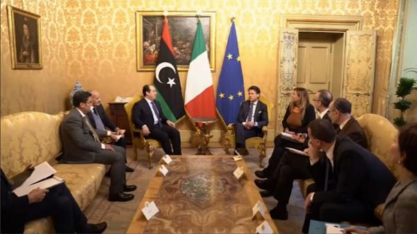 Italian PM Giuseppe Conti hosts a meeting with Libyan Deputy PM Ahmed Maiti