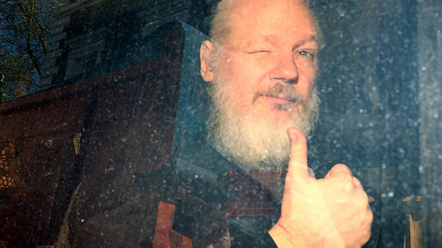Julian Assange after getting arrested in London