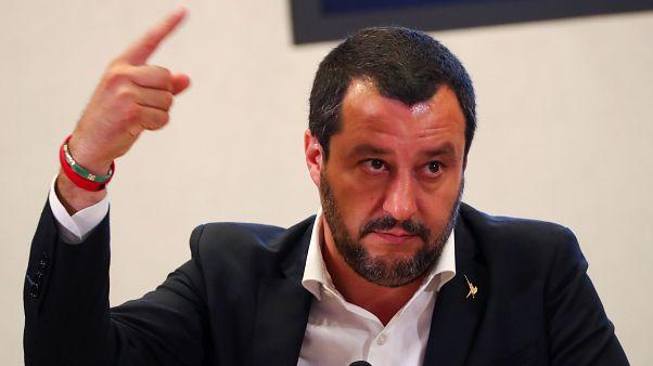 ماتيو سالفيني وزير الداخلية الإيطالي خلال مؤتمر صحفي في روما