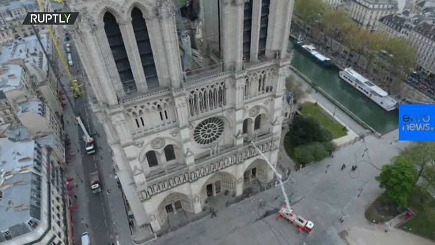 A view of the damage to Notre Dame from above