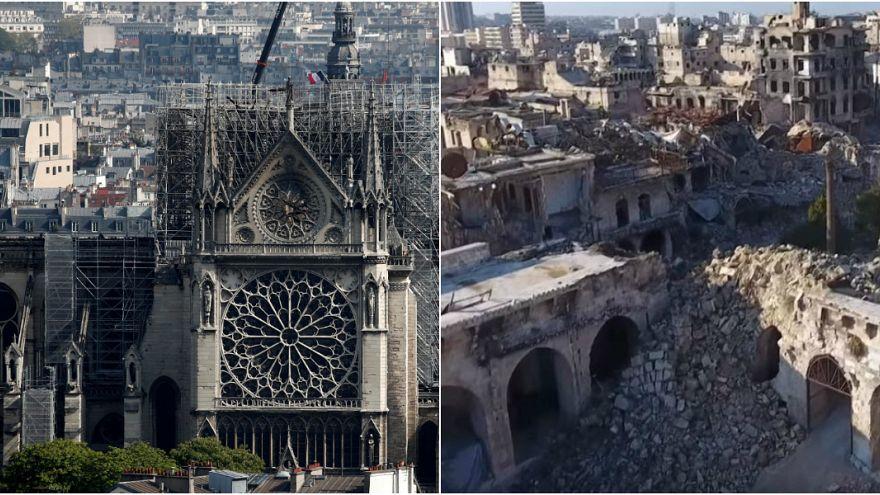 """برج """"كاتدرائية نوتردام"""" ومئذنة """"الجامع الأموي""""... كلاهما اليوم مدمّر"""