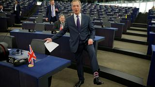 Brexit campaigner and Member of the European Parliament Nigel Farage arrive