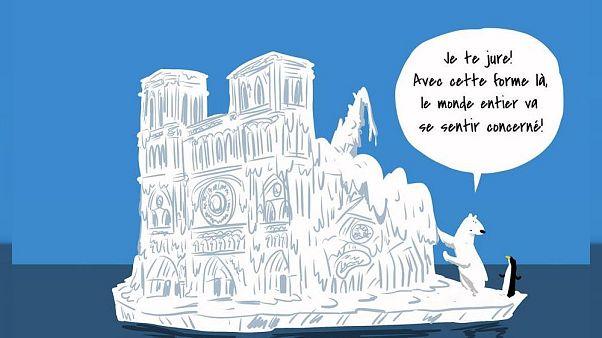 کاریکاتور تاثیرگذار هنرمند فرانسوی در انتقاد به کمک ثروتمندان برای بازسازی نوتردام