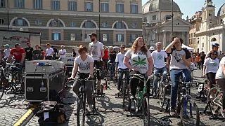 Pedalling teenagers power stage during Greta Thunberg speech