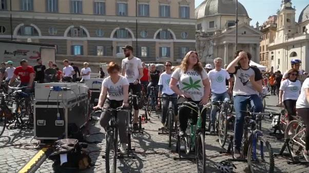 Pedalling teenagers power stage during Greta Thunberg speech