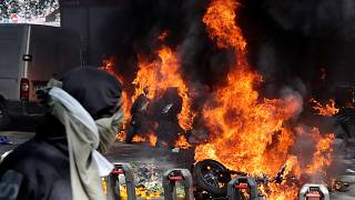 Motorbikes on fire at Yellow Vest protest on Saturday