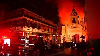 Крупный пожар на складе под Лимой
