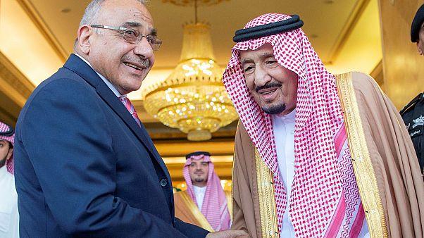 الملك سلمان بن عبد العزيز ورئيس وزراء العراق عادل عبدالمهدي في الرياض