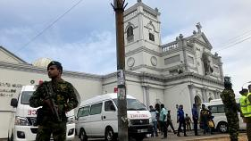 Sri Lankan military after an explosion in Colombo on April 21, 2019.