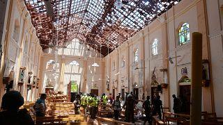 A church in Negombo, Sri Lanka, hit by a bomb blast on April 21, 2019.