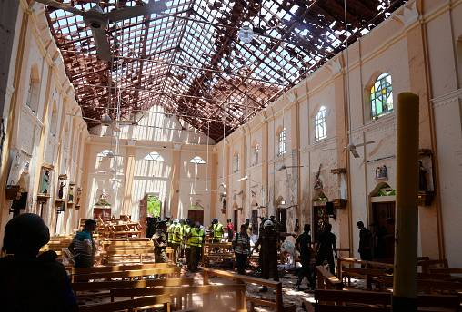 A church in Negombo, Sri Lanka, hit by a bomb blast on April 21, 2019.