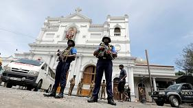 Soldiers outside St Anthony's Shrine in Colombo